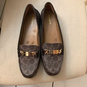 "Coach loafers/flats ""Olive"" brown with gold accent"
